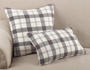 Grey Plaid Down Pillow- 20 in Square