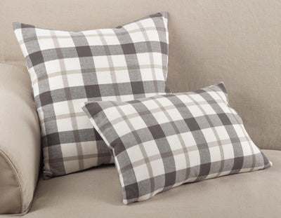 Grey Plaid Down Pillow- 12x20 Oblong
