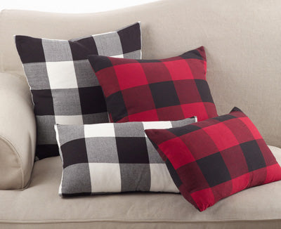 Red & Black Pillow - (Oblong 12