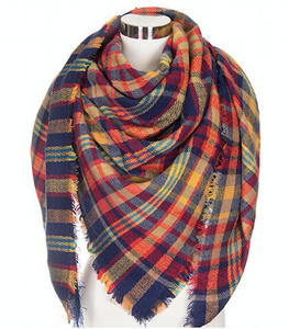 Blanket Scarf | Red & Navy