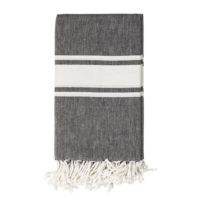 Black with White Stripes Cotton Throw