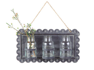 Metal Wall Decor w/ 3 Glass Vases,