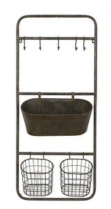 Metal Shelf w/ 5 Hooks, 2 Baskets & 1 Bin, Rust Fin