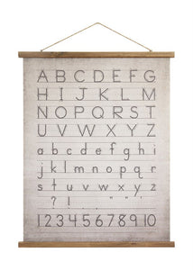 Canvas & Wood Scroll Wall Decor w/ Alphabet & Numbers & Jute Hanger