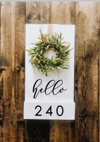 "Pallet Hello Address Sign | 10 1/2"" x 20"""