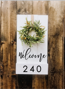 "Pallet Welcome Address Sign | 11 1/2"" x 24"""