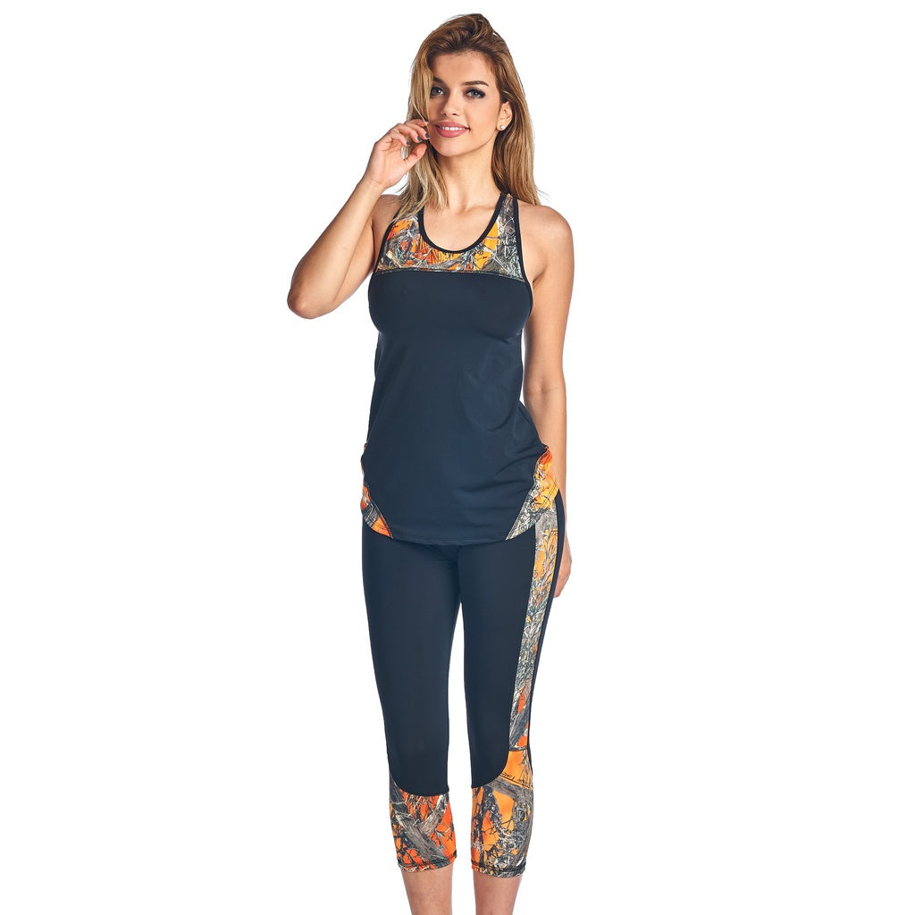 Women's 2 Piece Camo Athletic Wear Tank & Capris