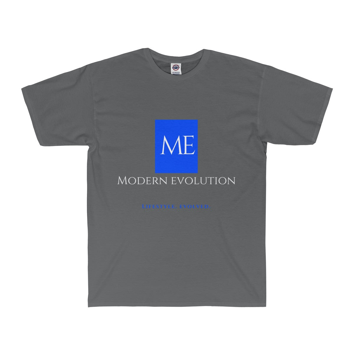 Sexy grey modern evolution shirt with big logo front. blue label white lettering.