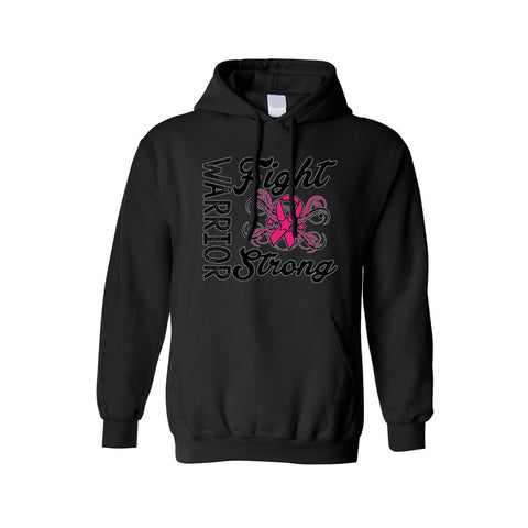 "Unisex Pullover Hoodie ""Warriors Fight Strong"" Breast Cancer Awareness"