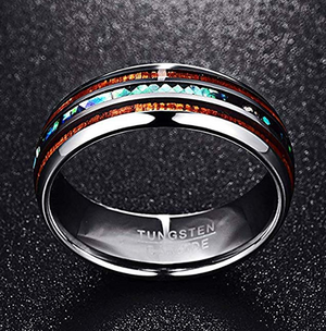 Tungsten Ring  with koa and mother of pearl Inlay