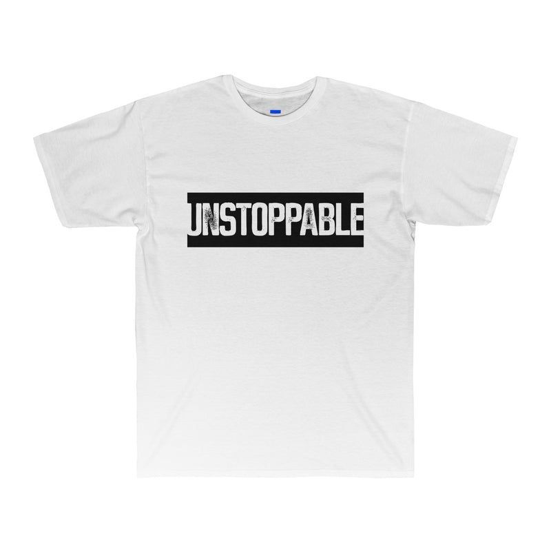 white relax fit shirt dark black stop sign that says unstoppable