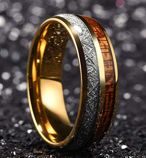 Rose Gold Plated Tungsten With Meteroite and Koa wood inlay Ring