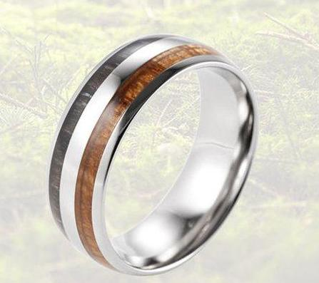 Men's 8mm Titanium Ring With Double Koa Ebony Gabon Wood Inlay
