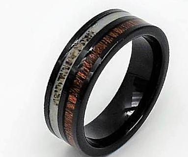 Tungsten Carbide Ring With Deer Antler Inlay