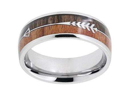 unique engagement ring tungsten ring with wood inlay