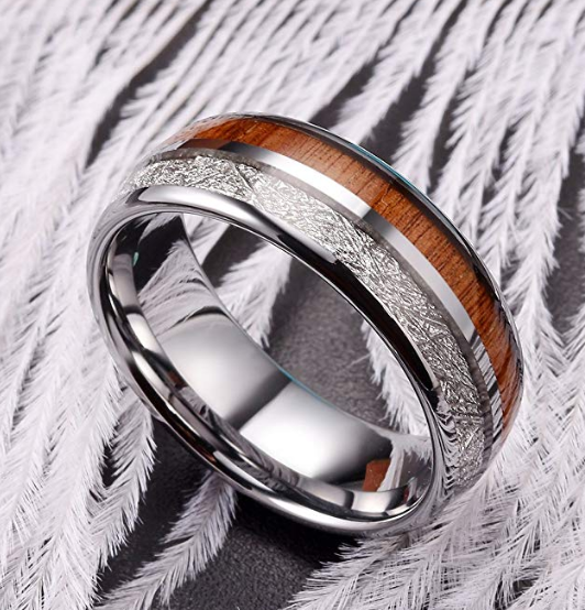 Tungsten Carbide Ring With Wood And Meteorite Inlay