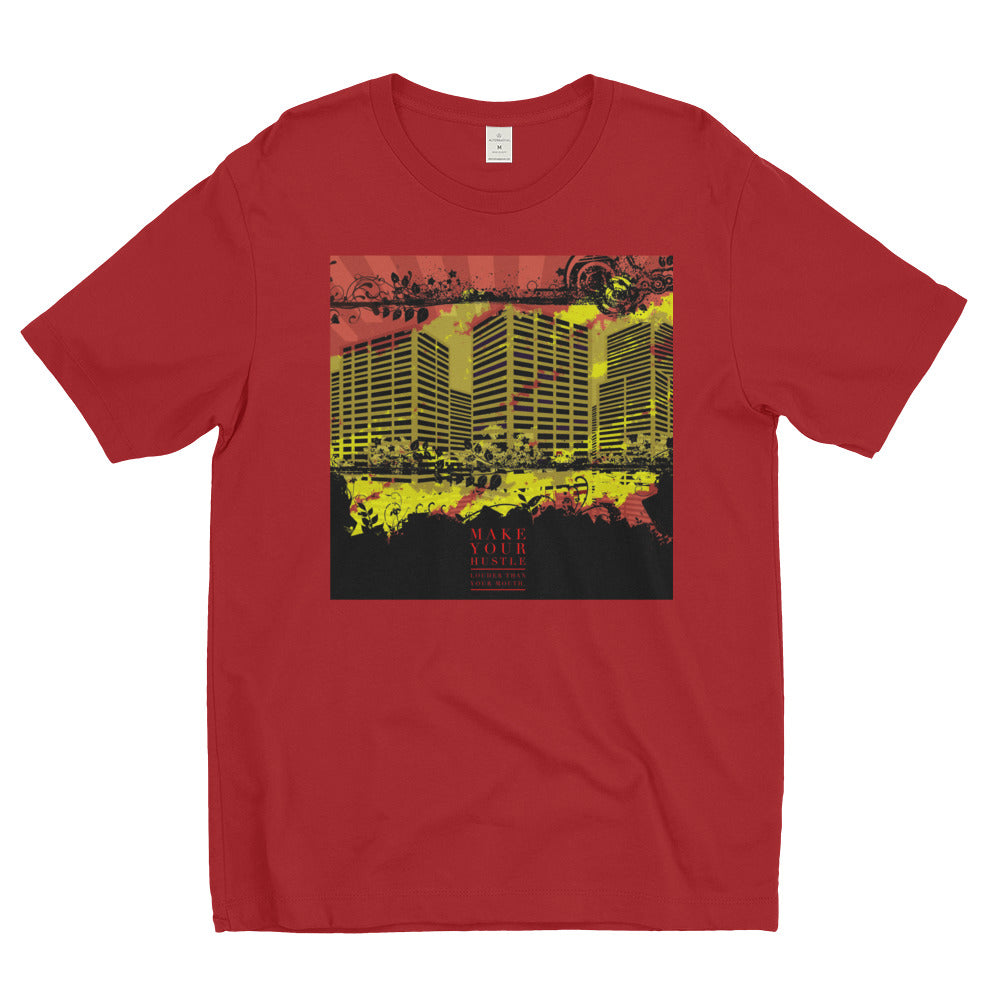 bright red city yellow street city with building shirt