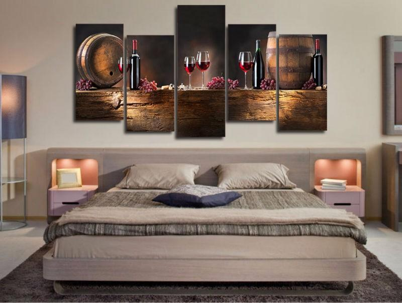 Wood and Wine 5 piece Canvas Art