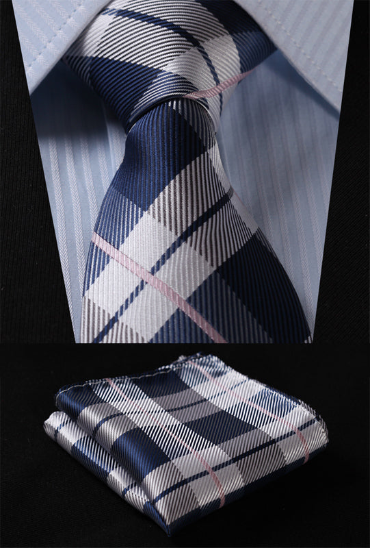 "Gray/Navy Blue Check 3.4"" Silk Woven n Tie with pocket square set"