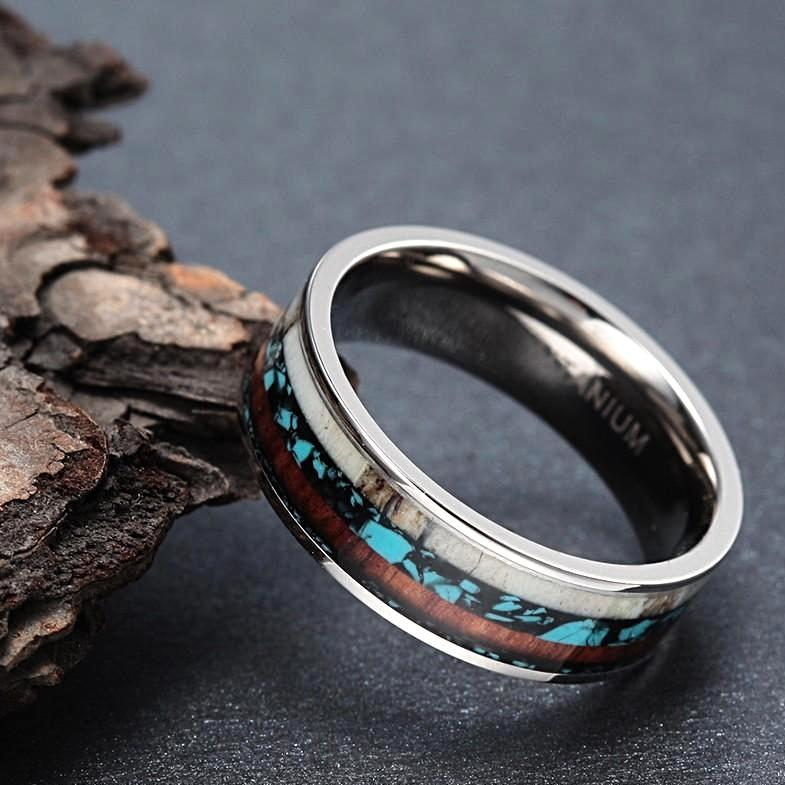 ring with antler and turquoise and koa wood for men