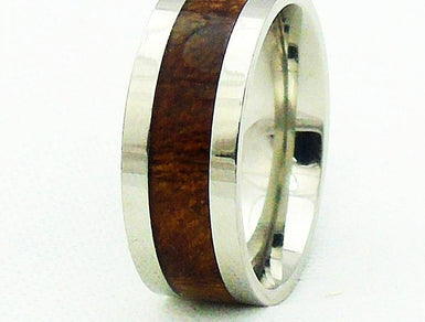 8mm  KOA Wood Inlay With Stainless Steel Ring