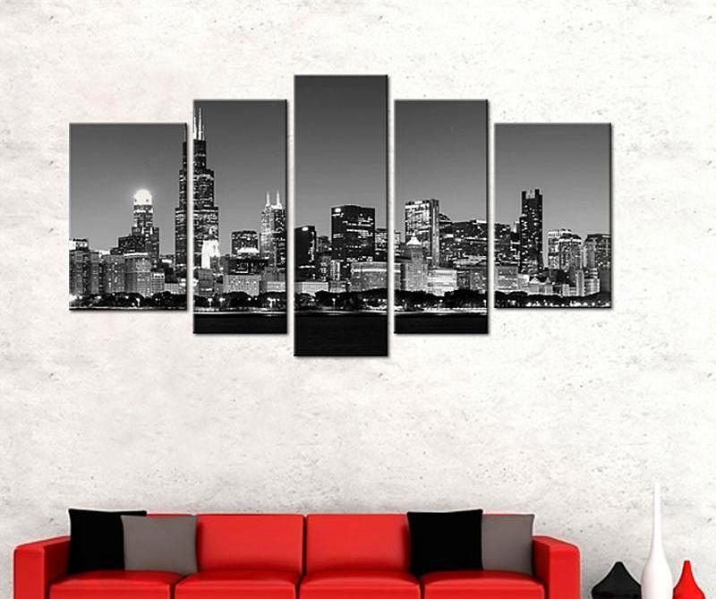 5 Picture Canvas Black and White Chicago City Night with Wooden Framed