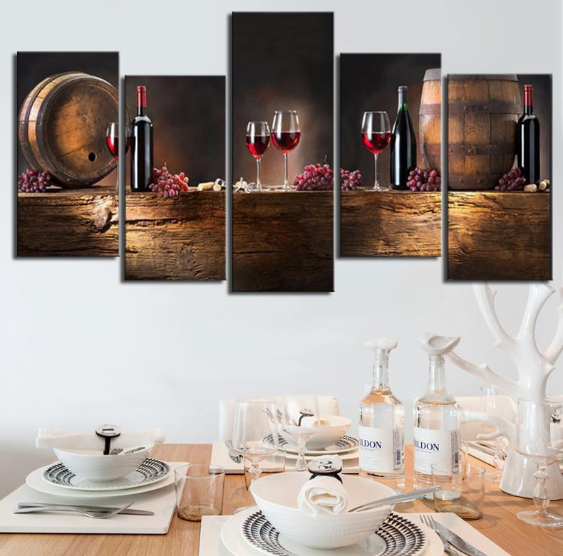 5 piece canvas art set with wine barrels and wine glasses