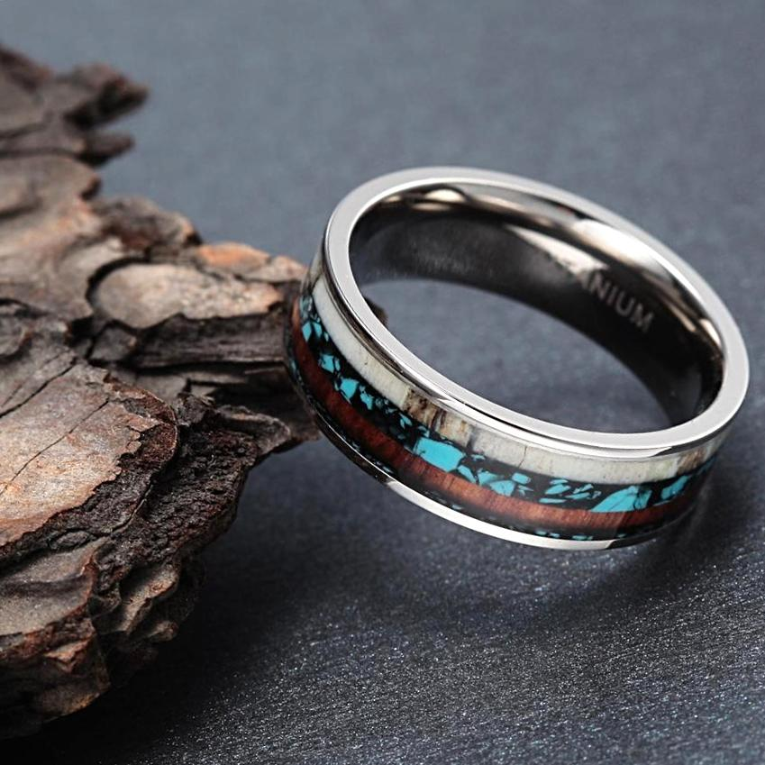 elk antler turquoise and koa wood inlay in titanium