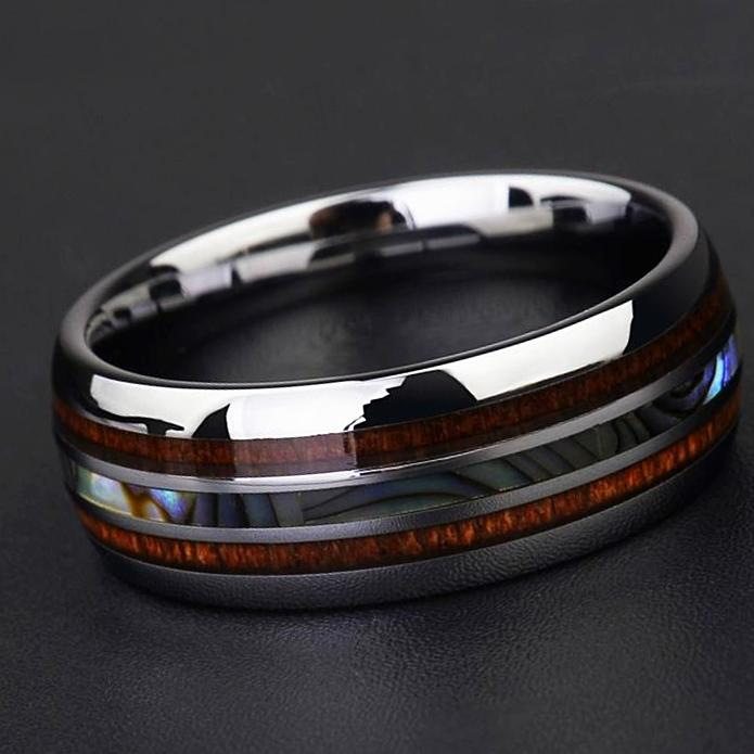 tungsten and koa wood ring for mens engagement wedding ring