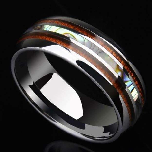 mens wedding ring with mother of pearl koa wood tension setting