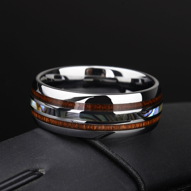 simple standard mens wedding ring wood fashion abalone shell ring with koa wood set.