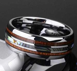 cobalt free tungsten ring with inlay of koa wood