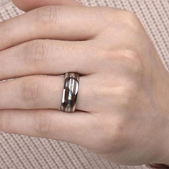 mens ring with mother of pearl tungsten tension setting image