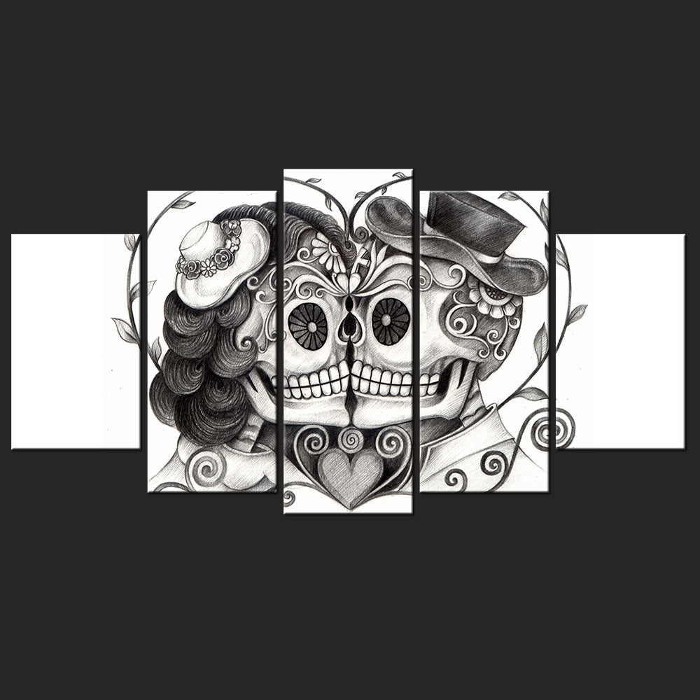 Day Of The Dead Face 5 Piece Canvas Art