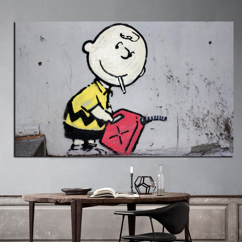 charlie brown with gas can art