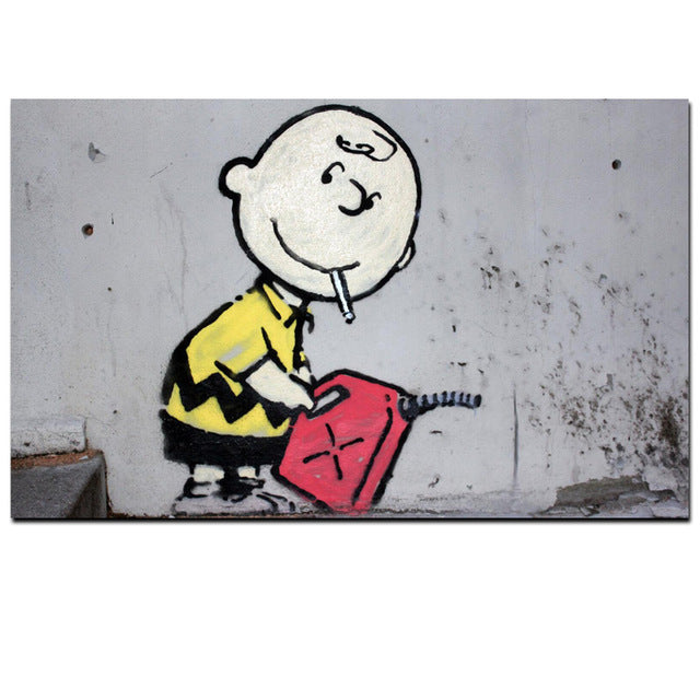 smoking charlie brown with gas can