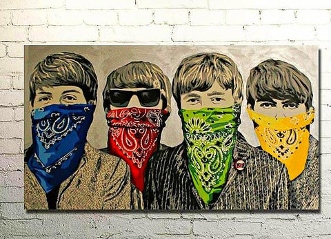 4 guys with bandanas painting