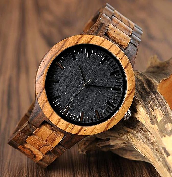 Ebony and Zebra Wood Watch