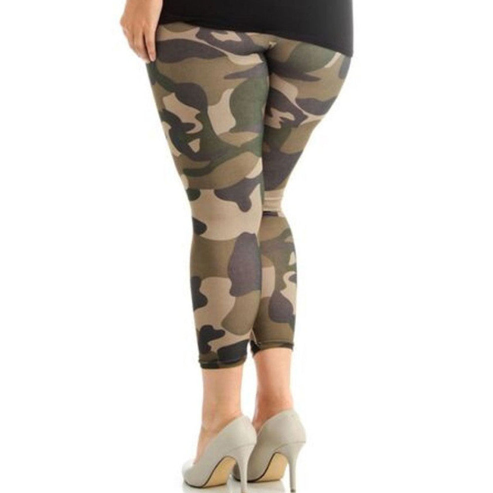 Women Plus Size Camouflage Print