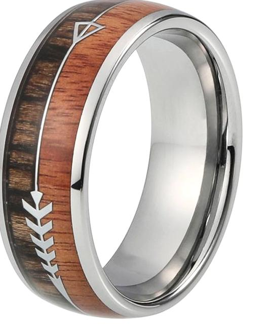 Tungsten ring with koa wood inlay silver arrow