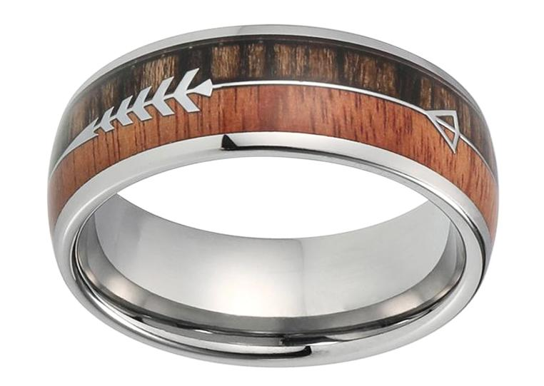 feathered arrow koa wood ring