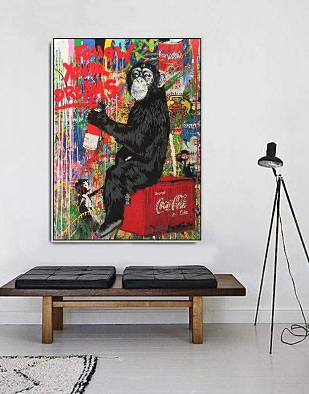 monkey with coca cola banksy painting canvas art unframed