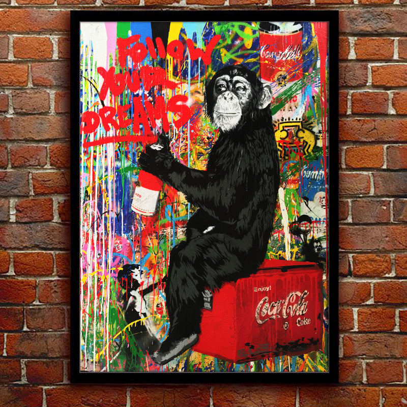 coca cola painting with monkey art