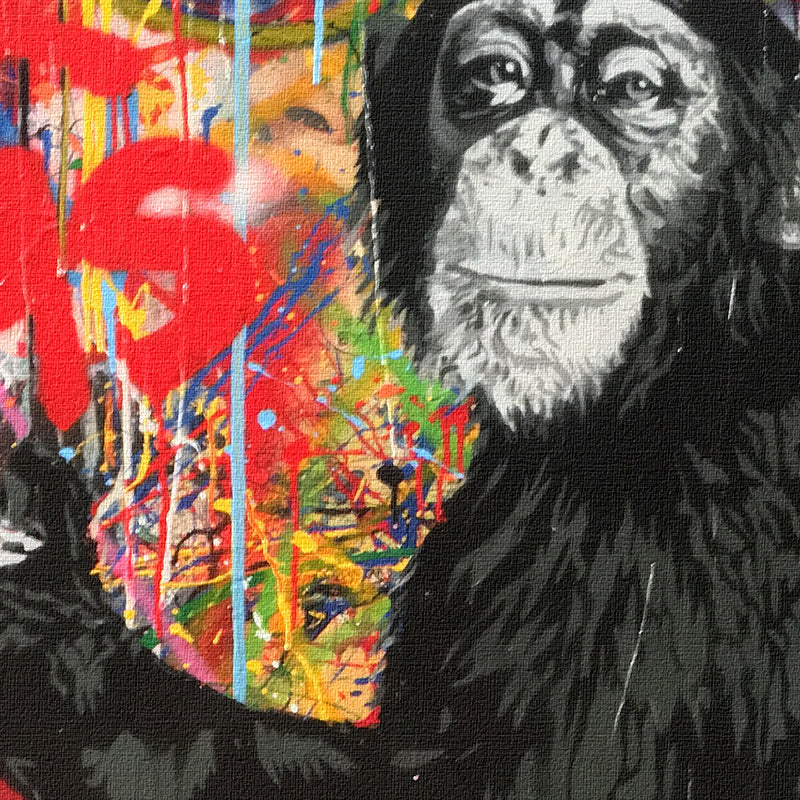 close up picture of the monkey in painting showing high quality color print ink