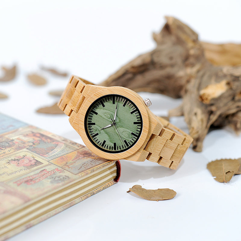 Green wood with bamboo watch