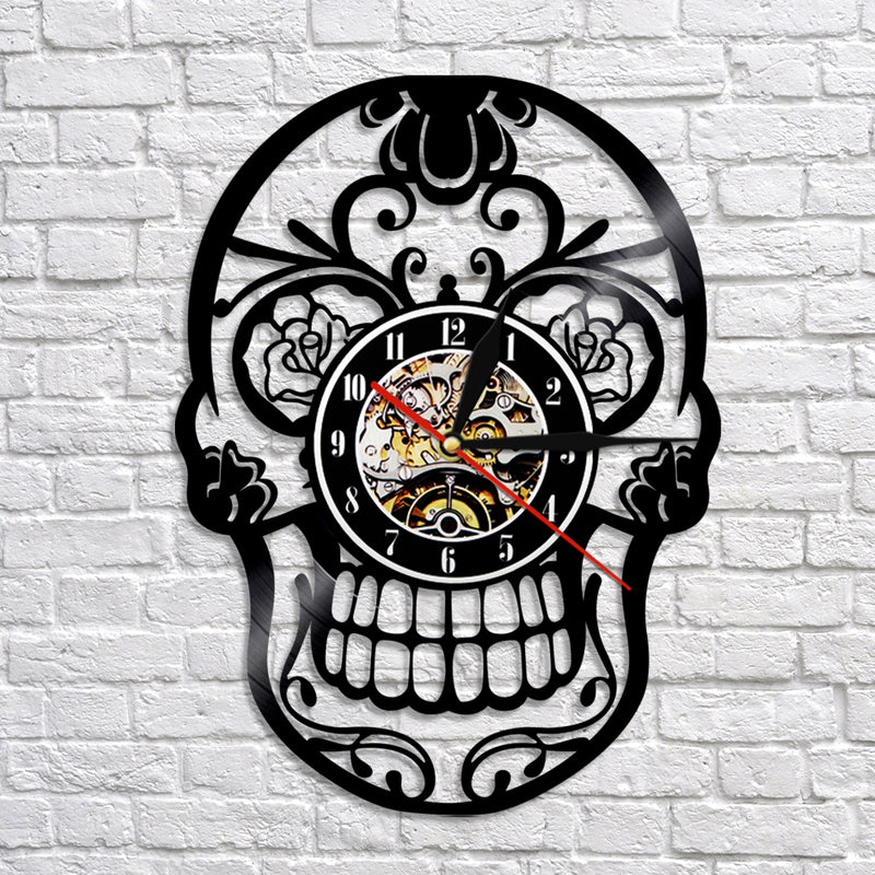 Sugar Skull  Record  Clock