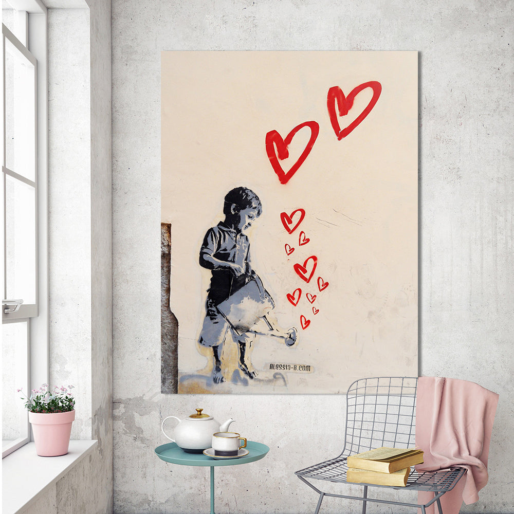 Banksy watering can canvas painting
