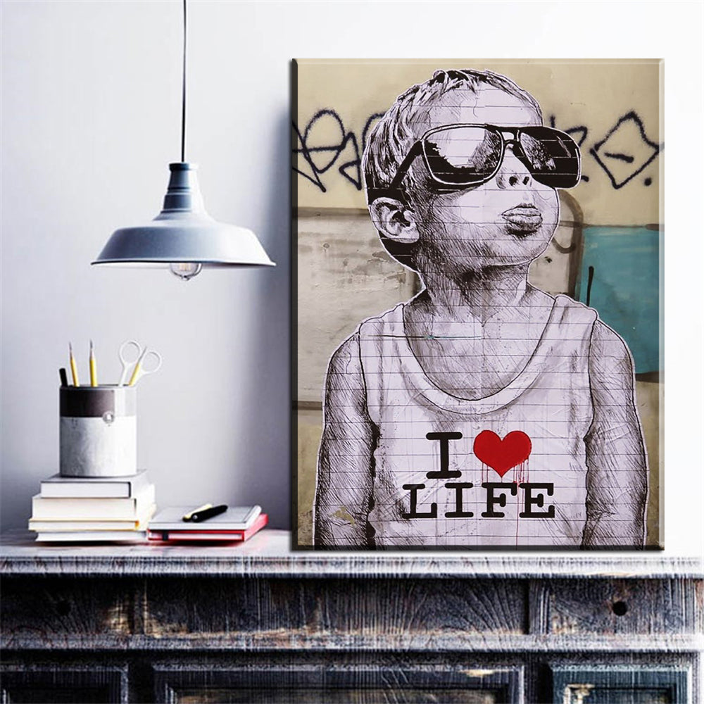 I love life banksy canvas art