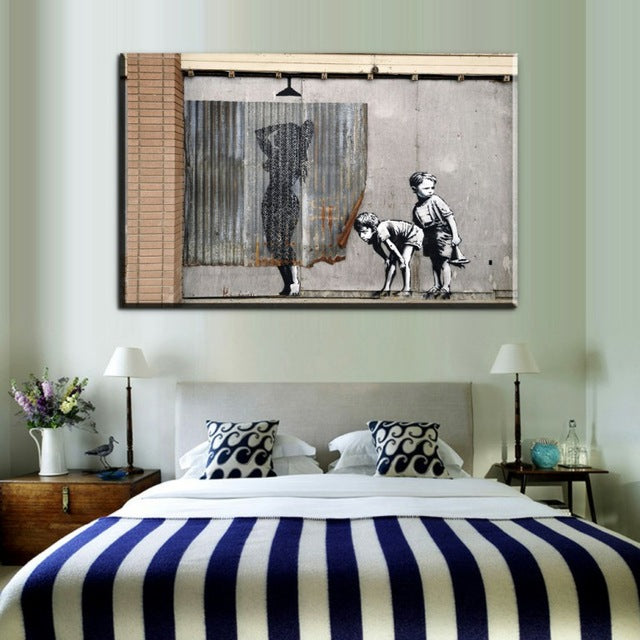 Black and white Banksy Smile prints collection