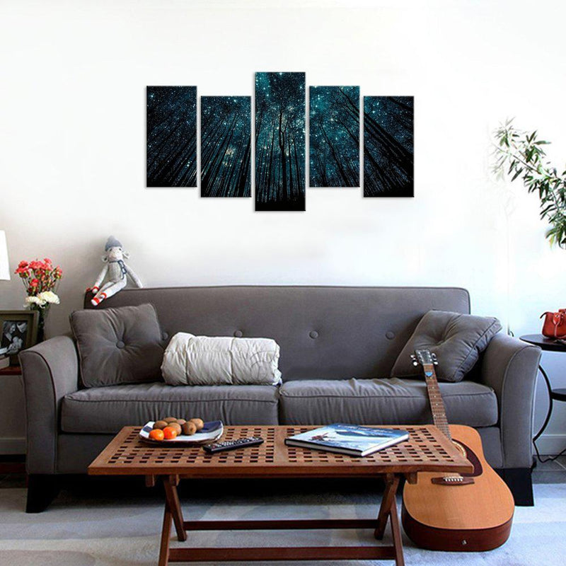 5 piece art set of night in forest